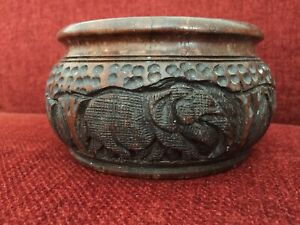 Hand Carved Wood Bowl With Elephants And Trees