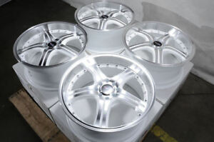 18x8 White Wheels Fits Accord Civic Hyundai Elantra Tiburon Volvo S40 V40 Rims