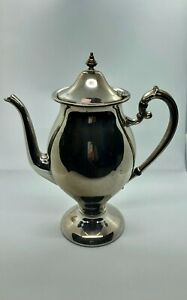 Lehman Brothers Coffee Pot Silver On Copper Vintage Ornate Handle 11