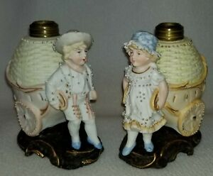 19th C Scarce Pair Of Miniature Bisque Kerosene Lamps Boy And Girl With Cart
