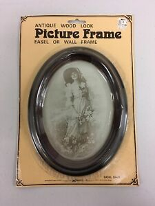 New Antique Wood Look Oval 6 5x3 5 Picture Frame