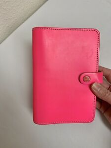 Filofax Original Personal Fluoro Pink Neon Organizer Daily Weekly Notebook