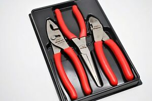 Snap On Tools Pliers Set Pl307acf Adjustable Slip Joint Diagonal Needle Nose