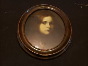 Antique Wood Framed W Glass Picture Of Girl Photo Frame Painting 81 2 X 10