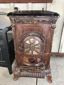 19th Century Enamel Cast Iron Parlor Stove