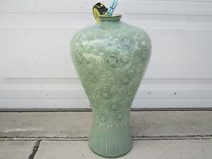 Antique Korean Light Green Glaze Nice Vase X Large 48 Cm Hx18 D Cm 17 X 7