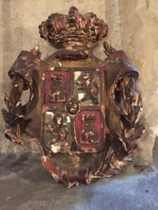 Antique Wood Carved Coat Of Arms
