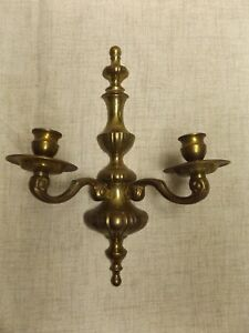 Vintage Solid Brass Wall Sconce Double Arm Candle Holder