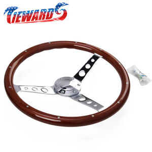 15 Inch Classic Wood Steering Wheel 380mm Universal New