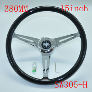 380mm 15 Inch Stainless Steel Black Wood Steering Wheel Horn Button 6 Hole
