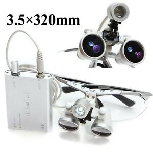 Silver Dental Loupes 3 5x 320mm Surgical Medical Binocular Led Head Light Lamp S