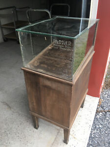 Antique Parker Pens Lucky Curve Etched Glass Floor Display Case Cabinet
