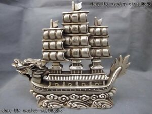 10 Chinese White Copper Silver Fengshui Lucky Wealth Dragon Boat Sailboat Statue