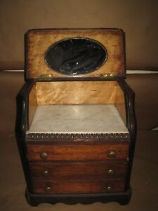 Antique 19thc Miniature Doll Dresser Bureau With Marble Top Mirror 3 Drawers