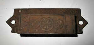 Antique Eastlake Cast Iron Drawer Pull Bin Pull Art Deco Geometric Floral 4