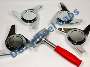 3 Bar Cut Chrome Knock Off Spinners Lead Hammer For Lowriders Wire Wheels
