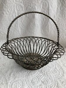 Vintage Twisted Wire Silver Plated Bread Egg Gathering Basket French Country