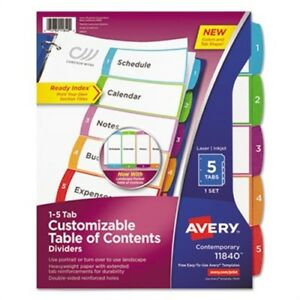 Ready Index Table Of Contents Dividers Multicolor Tabs 1 5 Letter