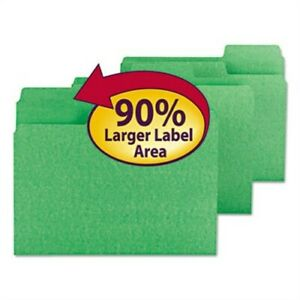 Supertab Colored File Folders 1 3 Cut Letter Green 100 box