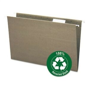 Recycled Hanging File Folders 1 5 Tab 11 Point Stock Legal Green 25 box