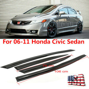 For 06 11 Honda Civic 4drs Sedan Mugen Ii Style Window Rain Guard Visors Jdm 4pc