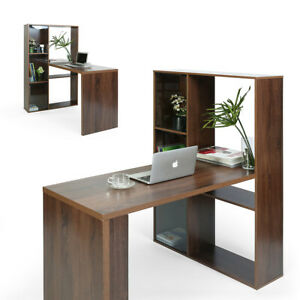 Office Computer Desk Writing Side Table Workstation With Storage Shelf Bookcase
