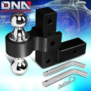 For 2 Receiver Aluminum 6 Drop Adjustable Tow Towing Hitch Black W dual Ball