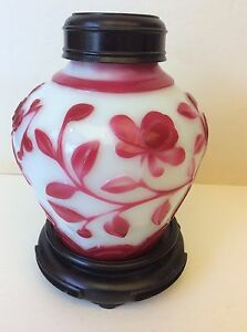 Antique Chinese Peking Cameo Glass Vase With Red Flowers Design Circa 1900