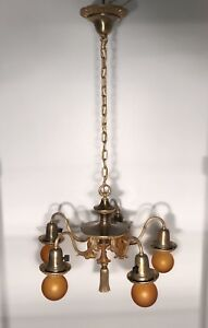 Quality Early Antique Copper Tone Brass 5 Light Fixture Newly Wired Chandelier