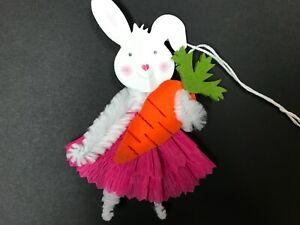 Easter Decoration Chenille Feather Tree Ornaments Bunny Gift Tags Item 30d