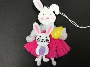 Easter Decoration Chenille Feather Tree Ornaments Bunny Gift Tags Item 30b
