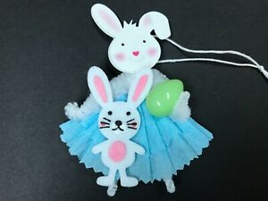 Easter Decoration Chenille Feather Tree Ornaments Bunny Gift Tags Item 30a