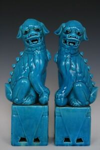 Chinese Beautiful Pair Peacock Blue Glaze Porcelain Foo Dogs Statues