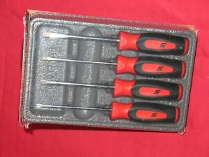 Snap On Red Soft Grip 4 Piece Mini tip Screwdriver Set In Sealed Storage Tray