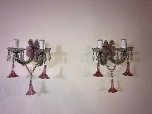 C 1920 French Murano Pink Fuchsia Flowers Crystal Prisms Sconces