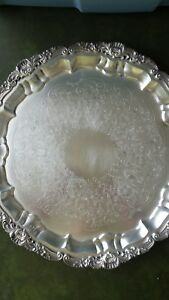 Vintage Poole Hollowware Silver Epca 14 Round Footed Serving Tray 3210 Estate