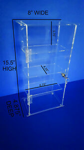 Acrylic Countertop Display Case Locking Security Case removable Shelves