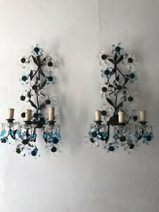 C 1920 French Maison Bagues Aqua Blue Clear Flower Prisms Sconces
