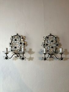 C 1920 French Maison Bagues Style Clear Flower Prisms Sconces
