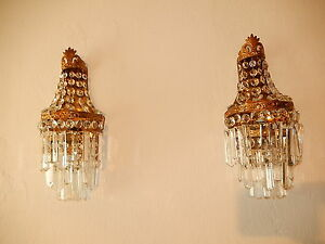 C 1930 French Big Crystal Prisms Bronze Sconces Empire Rare Beautiful Tiers