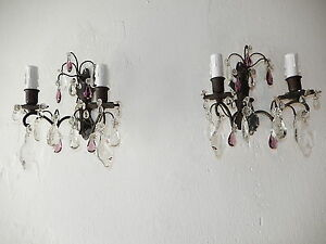 C 1910 French Black Brass Amethyst Clear Crystal Prisms Sconces