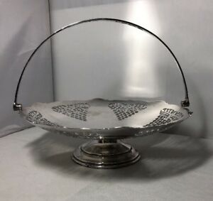 Vintage Silver Plated Mappin Webb Footed Pierced Fruit Bowl Cake Stand Basket