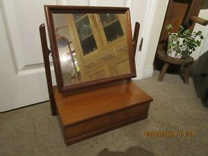Vintage Wooden Dressing Table Mirror With Drawer 1970 S
