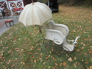 Beautiful Antique Wicker Baby Carriage With Parasol Good Condition