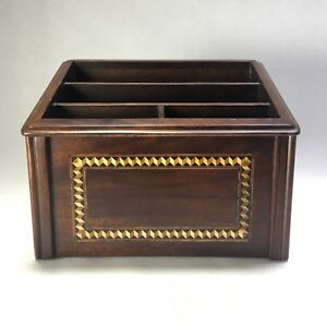 Selamat Design Inlaid Wood Desk Office Desktop Organizer Vintage