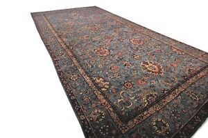 10x19 Rare Antique Rug Lavar Persian Fine Shabby Chic Pile Blue C 1880