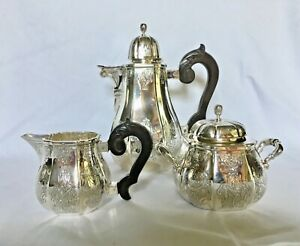 Puiforcat Lysee French R Gence Style Sterling Silver 3 Pc Tea Or Coffee Set