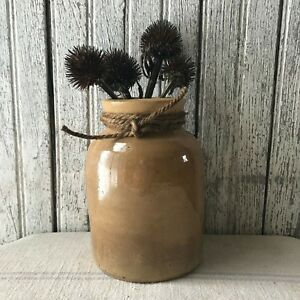 Primitive Vintage Brown Small Mouth Crock 6 25 Tall
