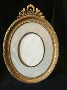 Gilt Bronze French Antique Large Oval Photo Frame