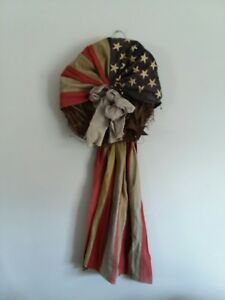 Rustic Primitive Country Americana Usa Flag On Wreath Home Decor
